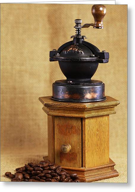 Kaffee Greeting Cards - Old Coffee Grinder Greeting Card by Falko Follert
