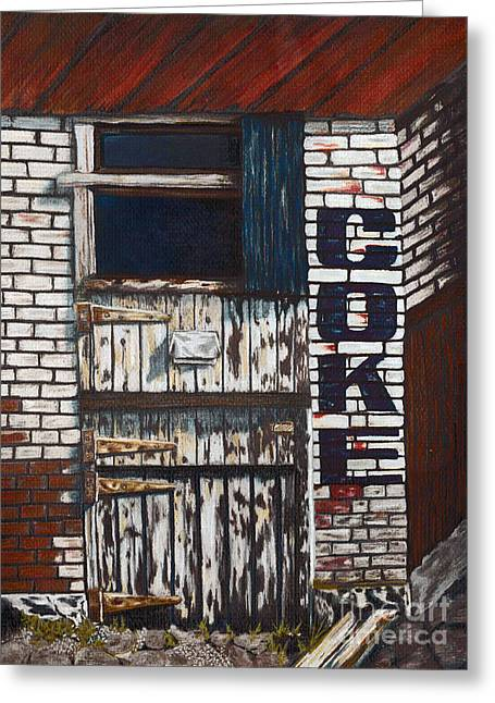Run Down Paintings Greeting Cards - Old Coke Building Greeting Card by Denise Pittman
