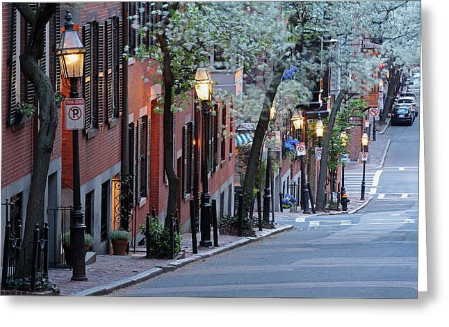 White Photographs Greeting Cards - Old Colonial Brick Row Houses of Beacon Hill Greeting Card by Juergen Roth