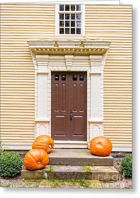 Deerfield Greeting Cards - Old Colonial Era Front Door with pumpkins Greeting Card by Edward Fielding