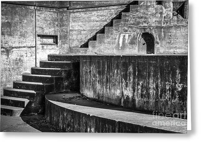 Fort Casey Greeting Cards - Old Concrete Stairs Greeting Card by Ken Andersen
