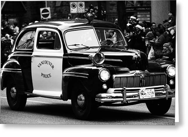 Cop Car Greeting Cards - Old Cop Car Greeting Card by Jerry Cordeiro