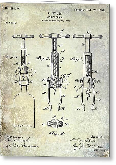 Cocktails Greeting Cards - Corkscrew Patent Greeting Card by Jon Neidert