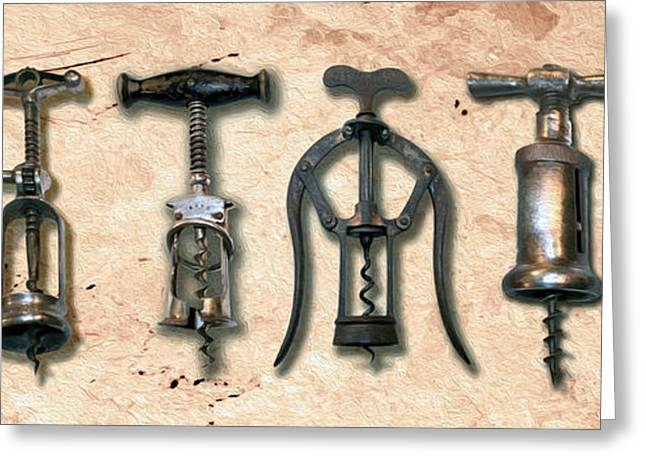 Cabernet Mixed Media Greeting Cards - Old Corkscrews Painting Greeting Card by Jon Neidert