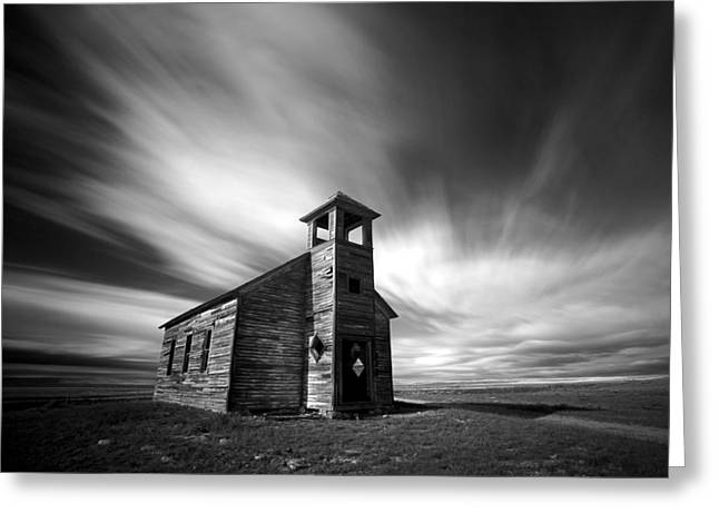 Old Western Photos Greeting Cards - Old Cottonwood Church in Black and White Greeting Card by Todd Klassy