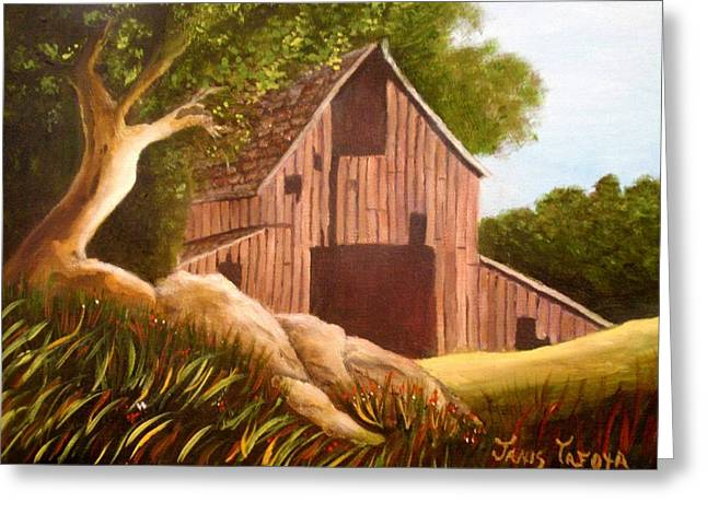 Tree Roots Paintings Greeting Cards - Old Country Barn Greeting Card by Janis  Tafoya