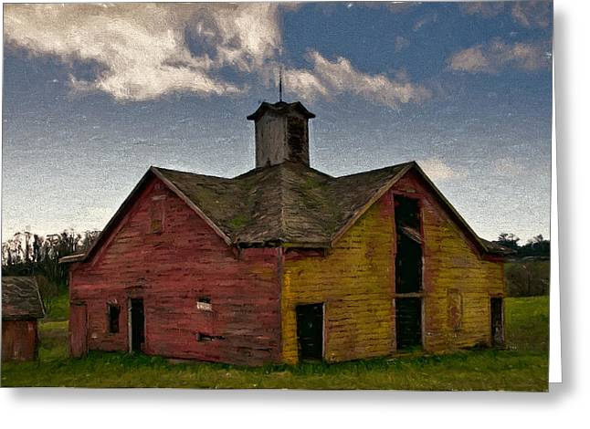 Old Country Barn Greeting Card by John K Woodruff