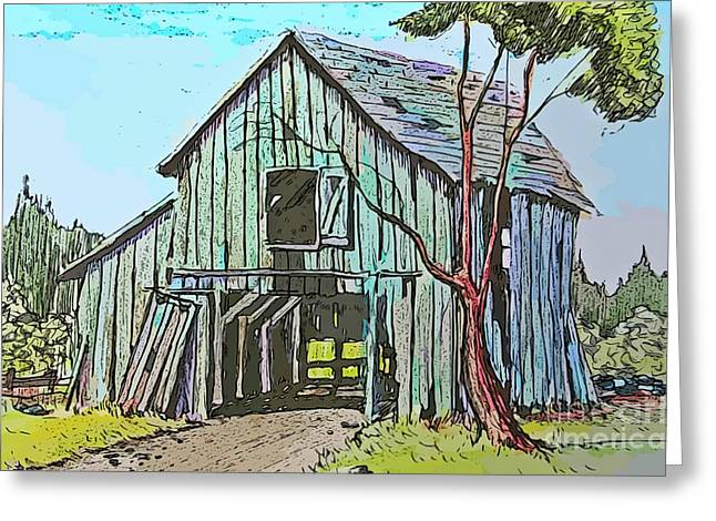 Barn Door Greeting Cards - Old Country Barn Greeting Card by John Malone