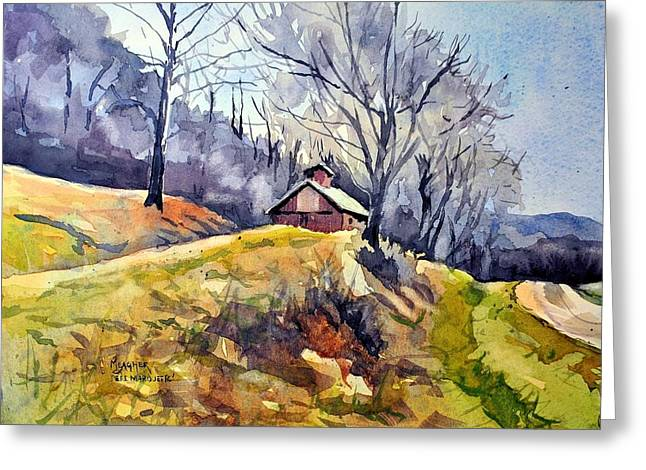 Old Country Roads Paintings Greeting Cards - Old Country Barn Greeting Card by Spencer Meagher