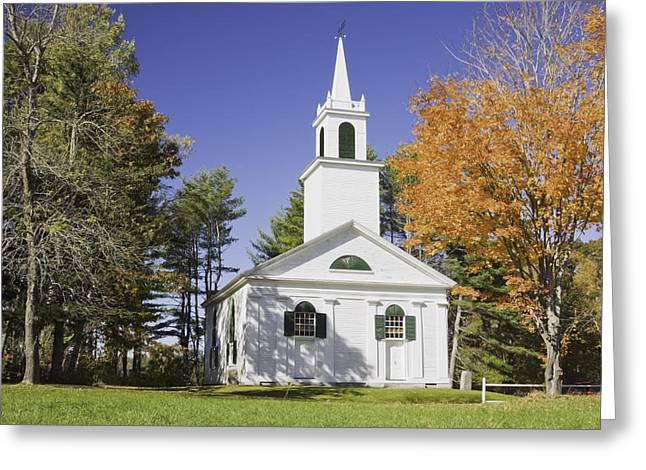 Maine Fall Greeting Cards - Old Country Church Head Tide Maine Greeting Card by Keith Webber Jr