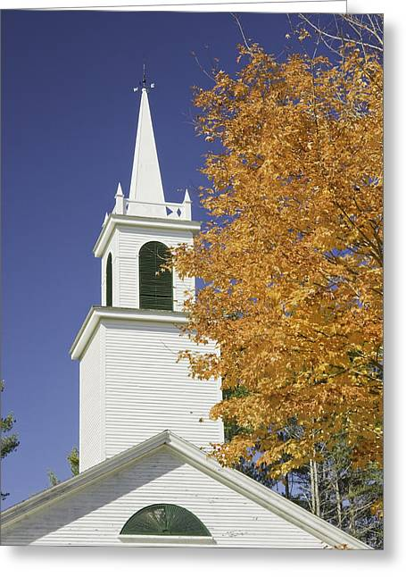 Fall Foliage Photographs Greeting Cards - Old Country Church In Fall Maine Greeting Card by Keith Webber Jr