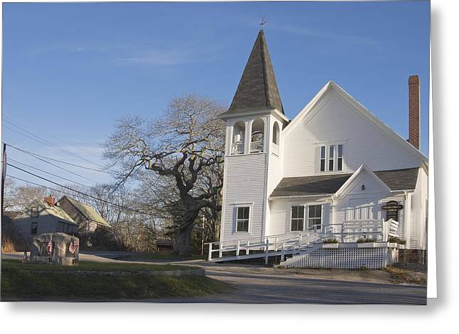 Country Church Greeting Cards - Old Country Church In South Bristol Maine Greeting Card by Keith Webber Jr
