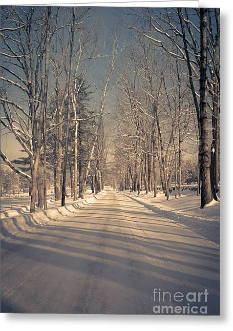 Leading Lines Greeting Cards - Old country road Greeting Card by Edward Fielding