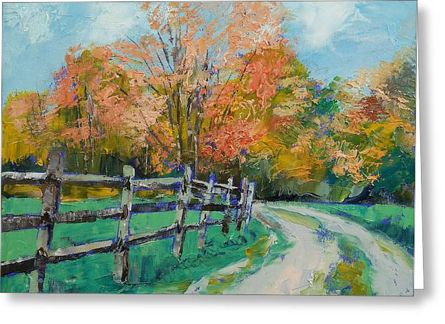 Old Country Roads Paintings Greeting Cards - Old Country Road Greeting Card by Michael Creese