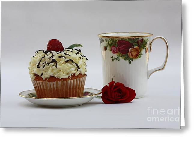 Old Country Rose And Raspberry Cupcake Delight Greeting Card by Inspired Nature Photography Fine Art Photography