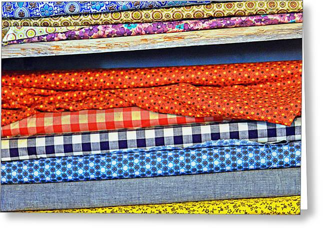Old Country Store Fabrics Greeting Card by Christine Till