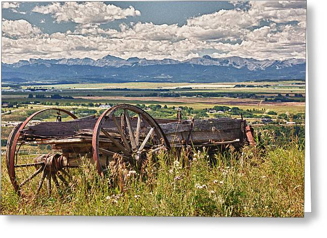 Old Country Wagon Mountains Greeting Card by Rob Moses