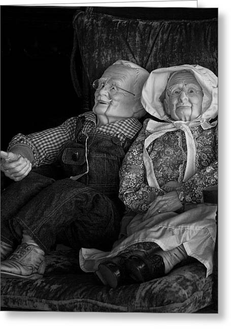 Older Couple Greeting Cards - Old Couple Mannequins in shop window display Greeting Card by Randall Nyhof