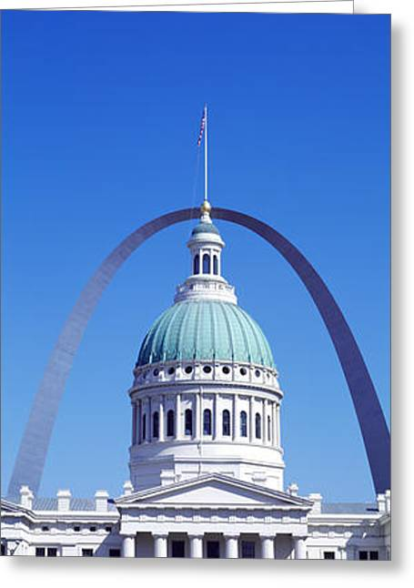 Historic Statue Greeting Cards - Old Courthouse & St Louis Arch St Louis Greeting Card by Panoramic Images