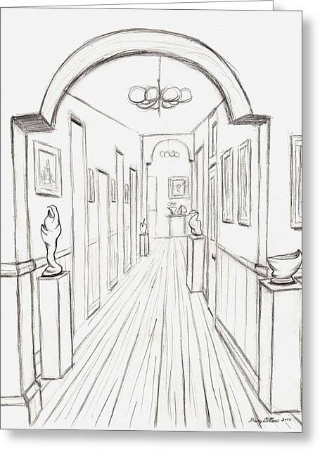 Concord Drawings Greeting Cards - Old Courthouse hall number three Greeting Card by Stacy C Bottoms