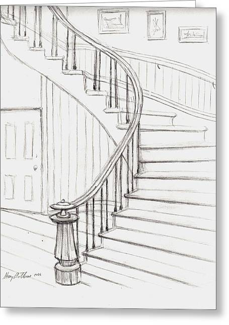 Concord Drawings Greeting Cards - Old Courthouse Stairs number two Greeting Card by Stacy C Bottoms