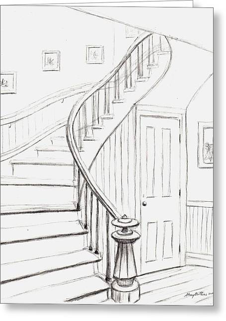 Concord Drawings Greeting Cards - Old Courthouse Stairs number one Greeting Card by Stacy C Bottoms