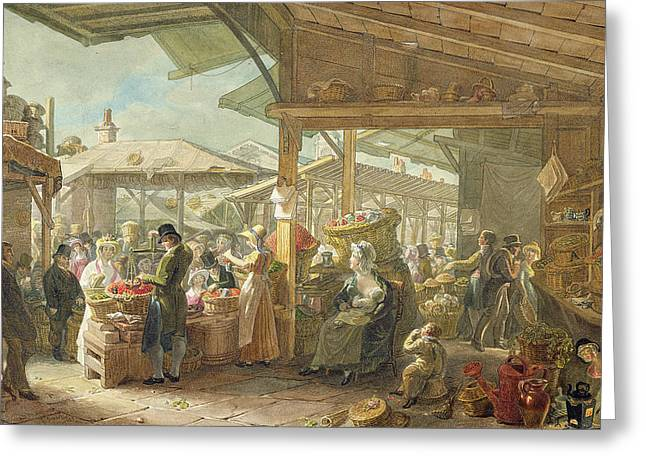 Breast Feeding Greeting Cards - Old Covent Garden Market Greeting Card by George the Elder Scharf
