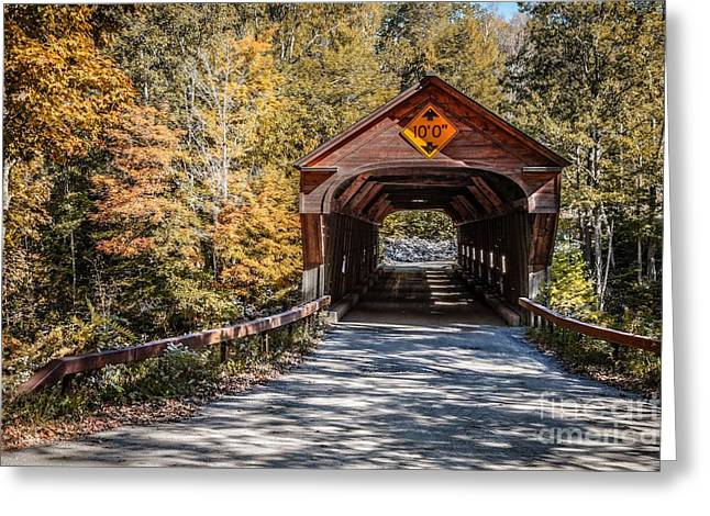 Covered Bridge Greeting Cards - Old Covered Bridge Vermont Greeting Card by Edward Fielding