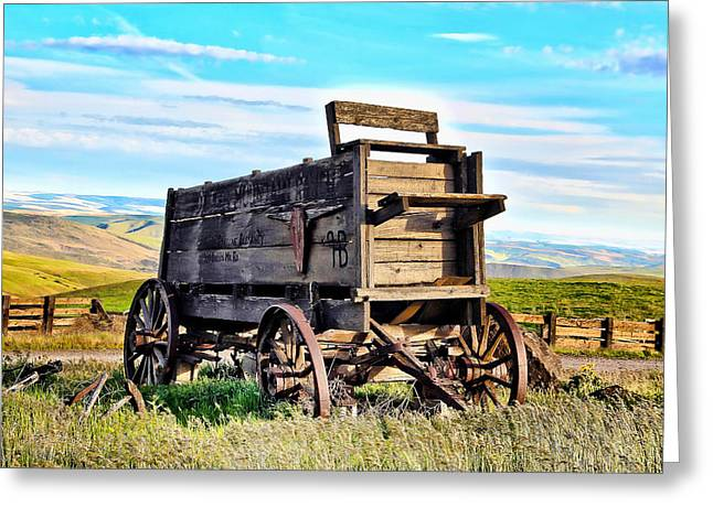 Horse And Cart Greeting Cards - Old Covered Wagon Greeting Card by Athena Mckinzie