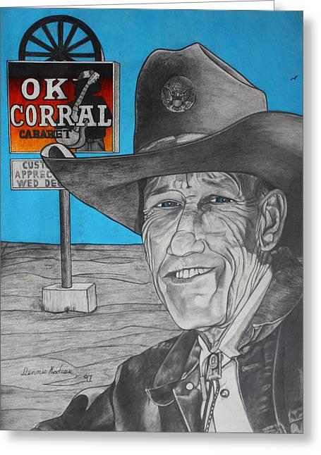 Wagon Wheels Mixed Media Greeting Cards - Old Cowboy Greeting Card by Dennis Nadeau