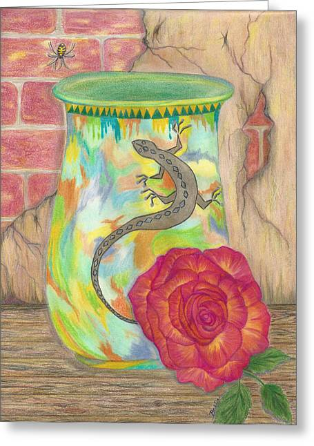 Crocks Drawings Greeting Cards - Old Crock and Rose Greeting Card by Bertie Edwards