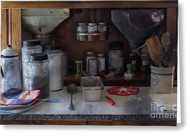 Customizable Greeting Cards - Old Cupboard - Vintage Kitchen Items Greeting Card by Liane Wright