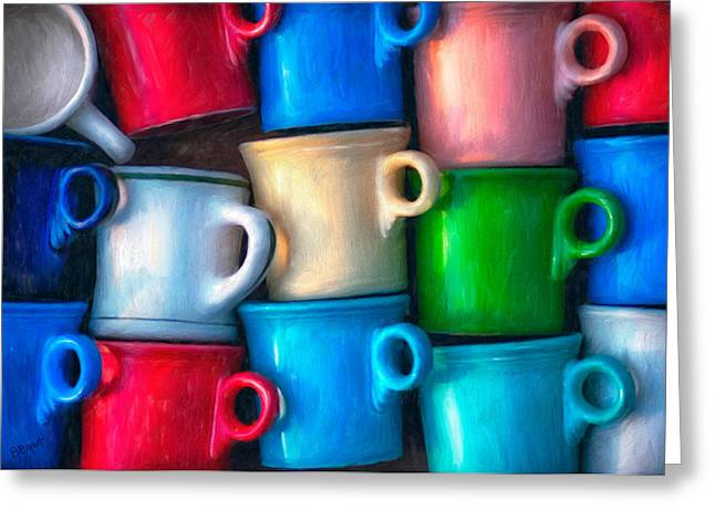 Cup Mixed Media Greeting Cards - Old Cups for Sale Greeting Card by Brenda Bryant