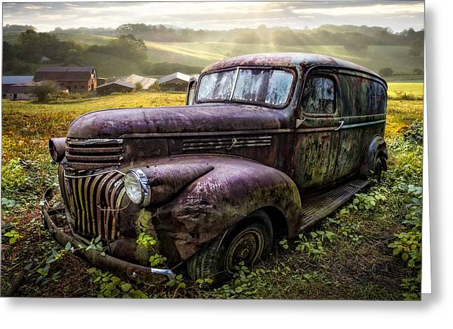 Tennessee Barn Greeting Cards - Old Dairy Farm Truck Greeting Card by Debra and Dave Vanderlaan