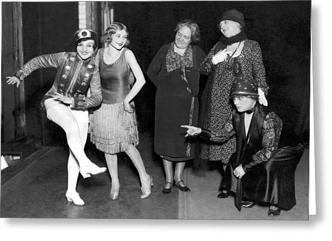 Old Dance Meets New On Stage Greeting Card by Underwood Archives
