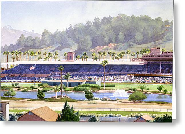 Southern California Greeting Cards - Old Del Mar Race Track Greeting Card by Mary Helmreich