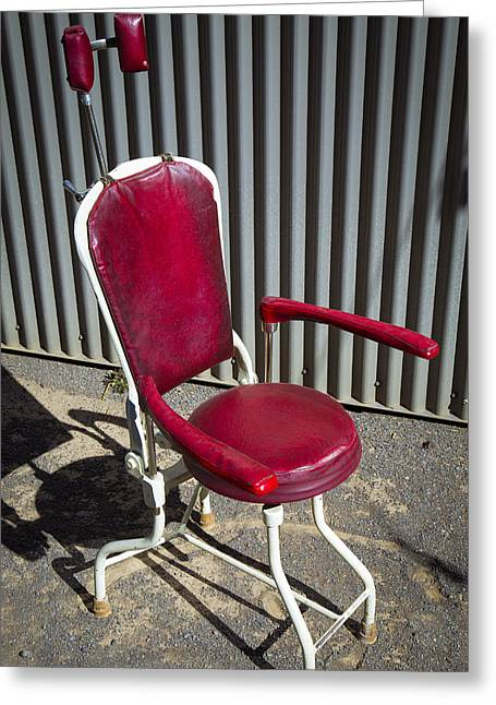 Stool Greeting Cards - Old Dentist Chair Greeting Card by Garry Gay