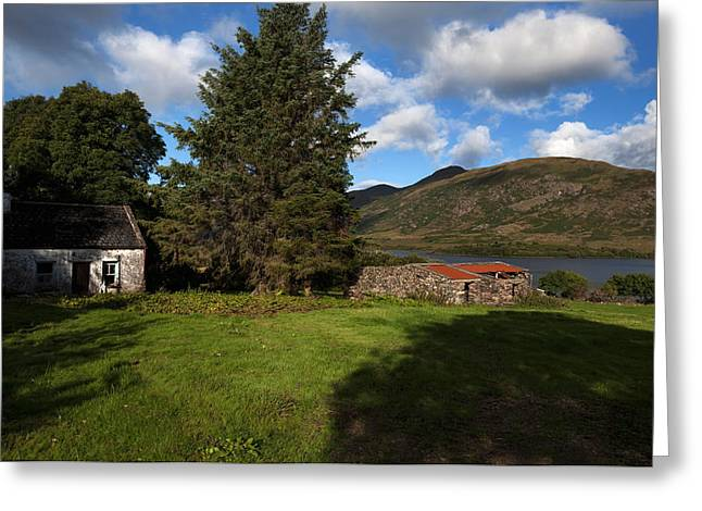 Mountain Pass Greeting Cards - Old Desarted Farm Near Drishaghaun Greeting Card by Panoramic Images