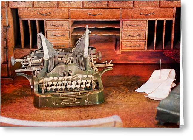 Schreibmaschine Greeting Cards - Old Desk with Type Writer Greeting Card by Gunter Nezhoda