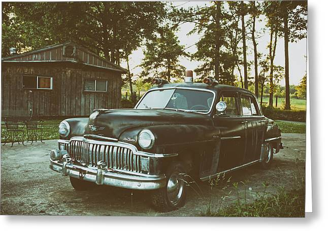 Desoto Car Greeting Cards - Old DeSoto Police Car Greeting Card by Mountain Dreams