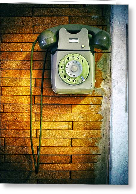 Close Up Greeting Cards - Old dial phone Greeting Card by Fabrizio Troiani