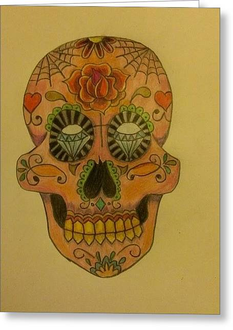 Tattoo Flash Greeting Cards - Old Diamond Eyes  Greeting Card by Missy  Brage