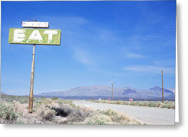 Old Roadway Greeting Cards - Old Diner Sign, Highway 395 Greeting Card by Panoramic Images