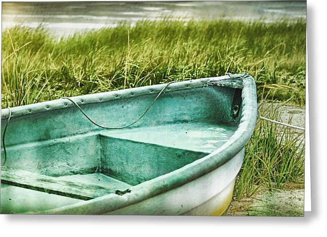 Beauty In Nature Mixed Media Greeting Cards - Old dinghy on the beach Cape Cod MA retro feel Greeting Card by Marianne Campolongo