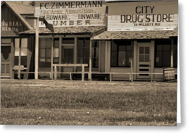 The Old West Greeting Cards - Old Dodge City Greeting Card by Dan Sproul