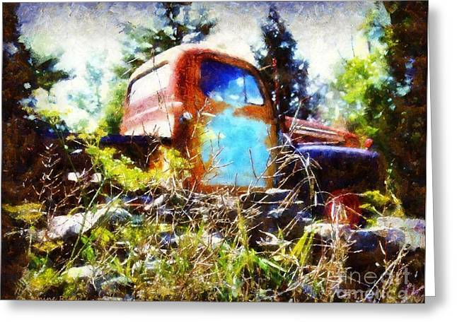 Old Pickup Greeting Cards - Old Dodge Truck Greeting Card by Janine Riley