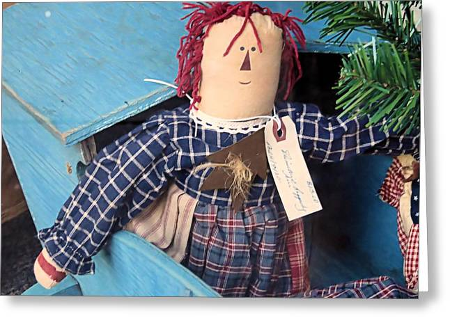 Plaid Dress Greeting Cards - Old Doll Greeting Card by Janice Drew