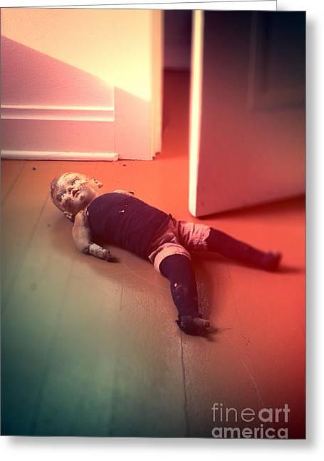 Baby Doll Greeting Cards - Old Doll on Floor Greeting Card by Jill Battaglia