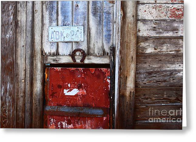 Rusted Cars Greeting Cards - Lucky Old Door 1 Greeting Card by James Brunker