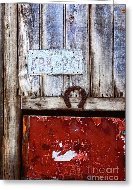 Rusted Cars Greeting Cards - Lucky Old Door 2 Greeting Card by James Brunker